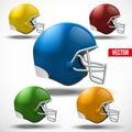 Set of American football helmet side view