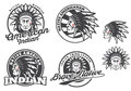 Set of american indian round logo, badges and emblems isolated on white background.