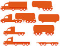 Set american trucks silhouette isolated with tank and body Royalty Free Stock Photo