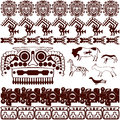 Set of ancient american ornaments vector on white Royalty Free Stock Photography