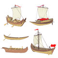 Set of ancient ships drawing Stock Photos