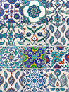Set of ancient traditional handmade tiles - Islamic ornaments Royalty Free Stock Photo