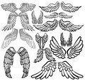 Set of angel wings. Wings collection with feathers. Black white vector illustration. Tattoo. Royalty Free Stock Photo