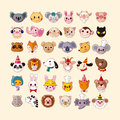 Set of animal face icons cartoon vector illustration Royalty Free Stock Image