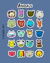 Set of animal faces, sticker set for your design Royalty Free Stock Photo