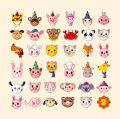 Set of animal head icons cartoon vector illustration Stock Photography