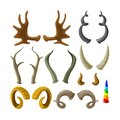 Set of Animal Horns Isolated on White Background. Deer, Reindeer or Elk with Gazelle and Unicorn. Hunter Trophy Antelope Royalty Free Stock Photo