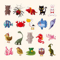 Set of animal icons cartoon vector illustration Royalty Free Stock Images