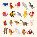 Set of animal icons cartoon vector illustration Stock Image
