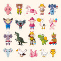 Set of animal icons cartoon vector illustration Royalty Free Stock Photo