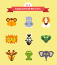 Set of animal masks . set 3. jungle animals