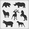 Set of animal silhouettes. Savannah, forest, farm animals. Design template for emblems, stickers and logos. Royalty Free Stock Photo