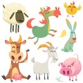 Set of animals and birds with a farm in a cartoon style. Vector illustration. ow, horse, chicken, bunny rabbit, pig, goatm sheep Royalty Free Stock Photo