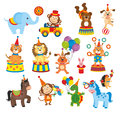Set of animals in circus on white background Stock Photos