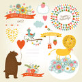 Set of animals illustrations and graphic elements for invitation cards party invitation holiday gifts birthday cards Royalty Free Stock Photo