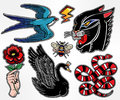 Set of animals and items in classic flash style patches.