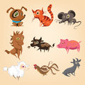 Set of animals living on the farm cartoon Royalty Free Stock Photo