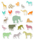 Set of animals silhouettes stickers Royalty Free Stock Photo