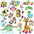 Set with animals toys for babies and little kids cartoon images isolated on white background Royalty Free Stock Photography