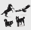Set of animals vector four Stock Photography