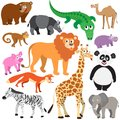 Set of animals on white background wild isolated Stock Images