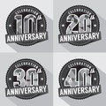 Set of Anniversary Celebration Design Royalty Free Stock Photo