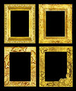 Set 4 antique golden frame isolated on black background, clipping path Royalty Free Stock Photo