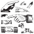 Set of antique hands (vector) Royalty Free Stock Photo
