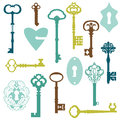 Set of antique keys and locks for your design or scrapbook in Royalty Free Stock Photo