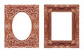 Set 2 - Antique picture red brown frame isolated on white backgr Royalty Free Stock Photo