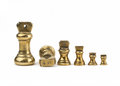 Set of antiques brass imperial weights Royalty Free Stock Photo