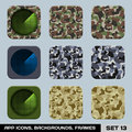 Set of app icon backgrounds frames templates set war game military style vector Royalty Free Stock Images