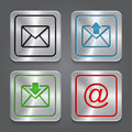 Set app icons metallic email envelope buttons vector Royalty Free Stock Photography