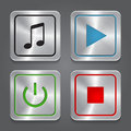 Set app icons metallic media player buttons colle collection vector Royalty Free Stock Photos