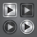 Set app icons realistic metallic play button with highlights vector Royalty Free Stock Images