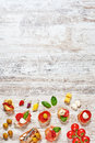 Set of appetizers / spanish tapas on a wooden table. Vertical. Royalty Free Stock Photo