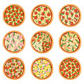 Set of appetizing pizzas, vector illustration