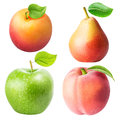 Set from apple, pear, apricot, peach isolated on white backgroun Royalty Free Stock Photo