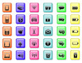 Set of application and communication icon buttons background Royalty Free Stock Photo