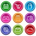 Set of application icon, menu icons. Colorful buttons. Vector illustration