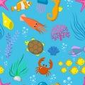 Set aquatic funny sea animals vector underwater creatures cartoon characters shell aquarium sealife seamless pattern
