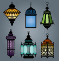 Set of arabic lantern part high quality vector Stock Image