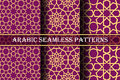 Set of 3 arabic patterns background. Geometric seamless muslim ornament backdrop. yellow on dark pink color palette