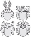 Set of aristocratic emblems no vector image four medieval coats arms executed in woodcut style isolated on white background blends Royalty Free Stock Photo