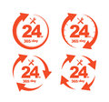 Set of Arrow Circle Service 24Hr 365 day Icon Royalty Free Stock Photo