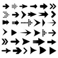 Set arrow icon. Different black arrows sign - vector Royalty Free Stock Photo