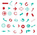 Set of arrow icons collection red and blue for your design isolated on white background Royalty Free Stock Images