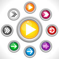 Set of Arrows on Colorful Buttons Royalty Free Stock Photo