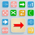 Set of arrows on icons the white in soft colors Stock Photo