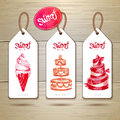 Set of art cake or dessert banners Royalty Free Stock Photo